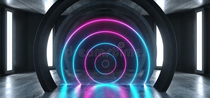未来科学幻想小说圈子具体难看的东西霓虹灯发光的紫色蓝色激光萤光黑暗的空的地下隧道走廊 向量例证