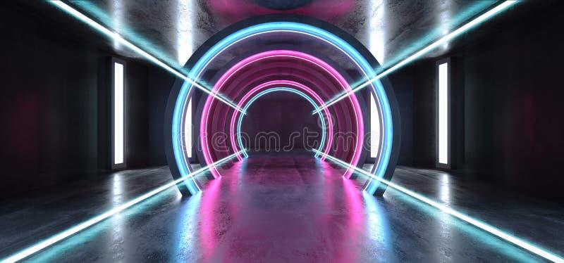 未来科学幻想小说圈子具体难看的东西霓虹灯发光的紫色蓝色激光萤光黑暗的空的地下隧道走廊 皇族释放例证