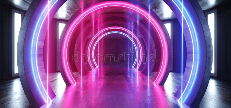 未来科学幻想小说圈子具体难看的东西霓虹灯发光的紫色蓝色激光萤光黑暗的空的地下隧道走廊 库存例证