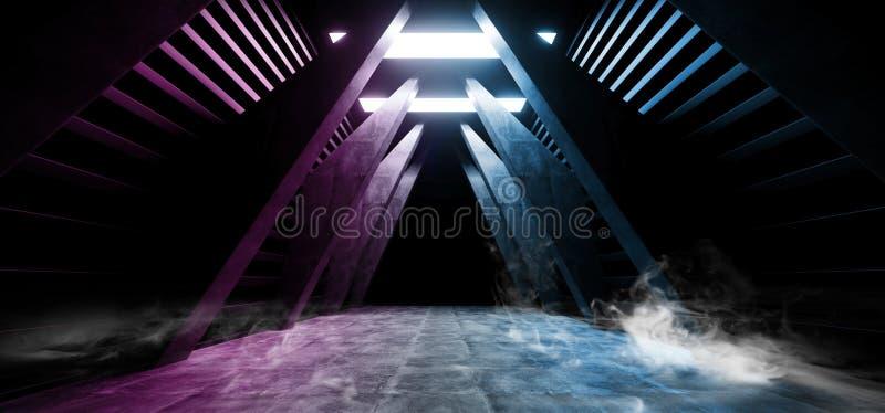 未来科学幻想小说烟霓虹激光太空飞船未来黑暗的走廊发光的紫色红色蓝色具体难看的东西走廊虚拟现实 皇族释放例证