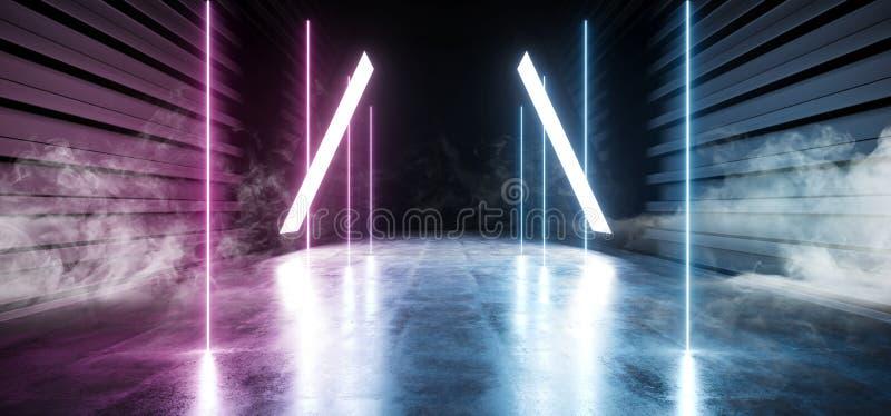 未来科学幻想小说烟霓虹激光太空飞船未来黑暗的走廊发光的紫色红色蓝色具体难看的东西走廊虚拟现实 库存例证