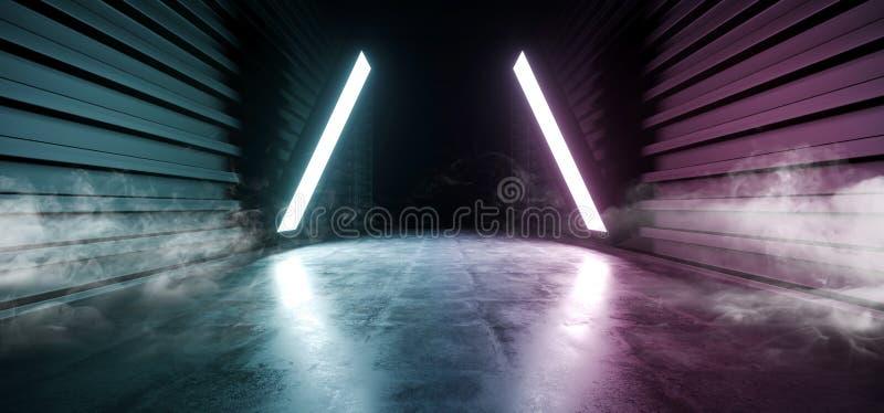 未来科学幻想小说烟霓虹激光太空飞船未来黑暗的走廊发光的紫色红色蓝色具体难看的东西走廊虚拟现实 向量例证