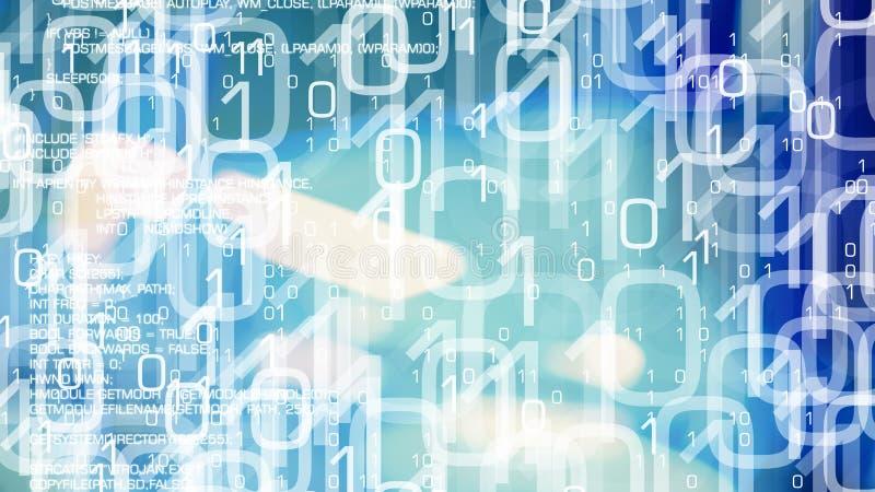 未来网络战争网络犯罪、二进制编码和病毒 向量例证