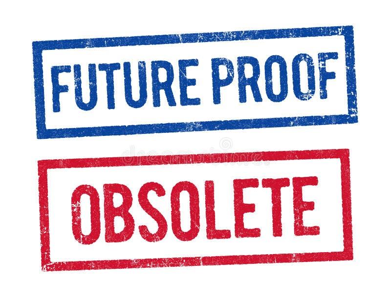 未来证明和过时邮票 向量例证