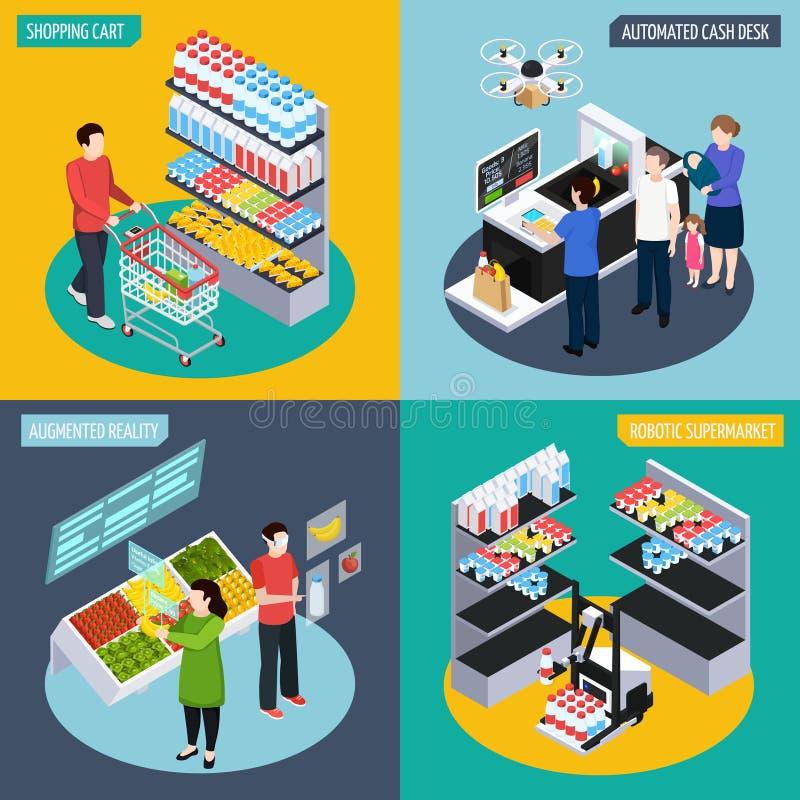 未来超级市场等量概念 库存例证