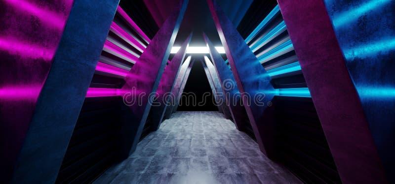 未来霓虹发光的充满活力的科学幻想小说未来派走廊隧道紫色蓝色桃红色虚拟现实黑暗的巨大的走廊入口混凝土 皇族释放例证