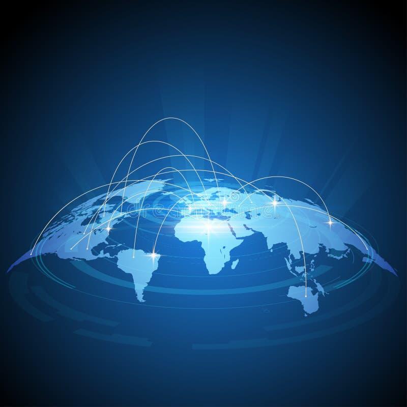 未来派世界地图交通设计 向量例证