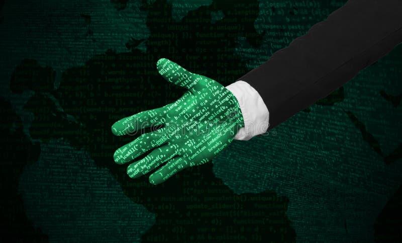 未来派人的友好的网络的手 向量例证
