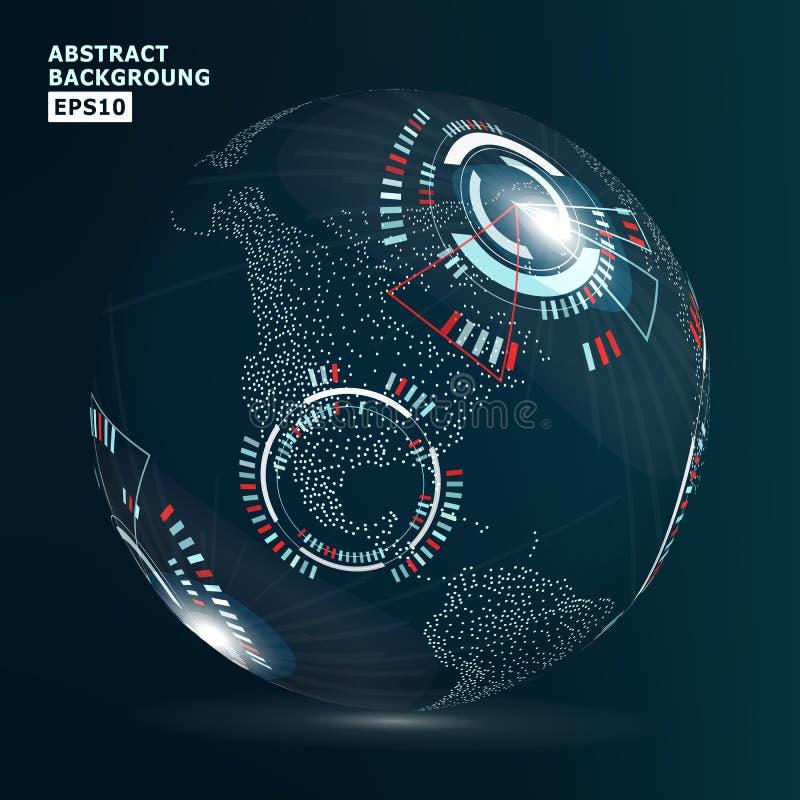 未来派全球化接口 也corel凹道例证向量 抽象数字式背景 皇族释放例证