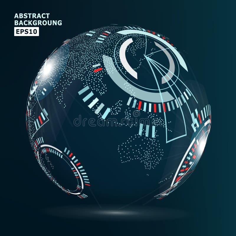 未来派全球化接口 抽象背景高技术向量 皇族释放例证