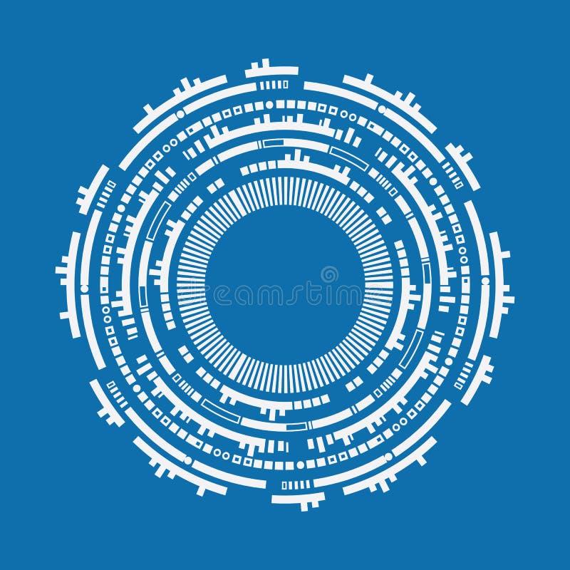 未来派图表用户界面 抽象techno圈子 皇族释放例证