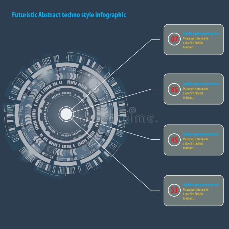 未来派图表用户界面 infographic抽象techno的圈子 向量例证