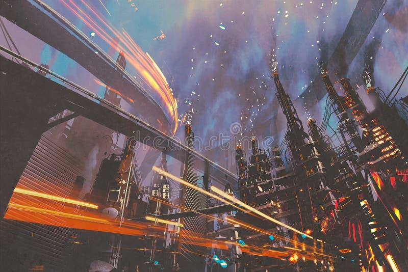 未来派城市科学幻想小说风景有工厂厂房的 向量例证