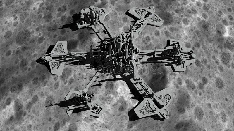 未来派城市,基地,月亮的镇 行星地球的空间视图 远征 3d翻译