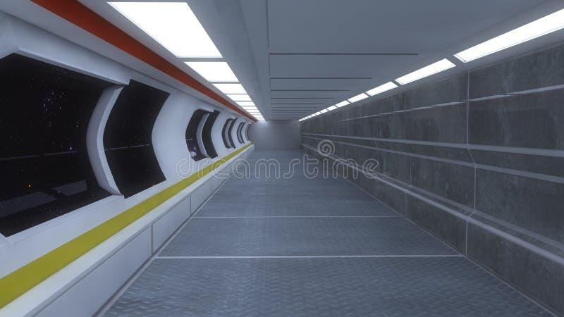 未来派太空飞船内部走廊 库存照片