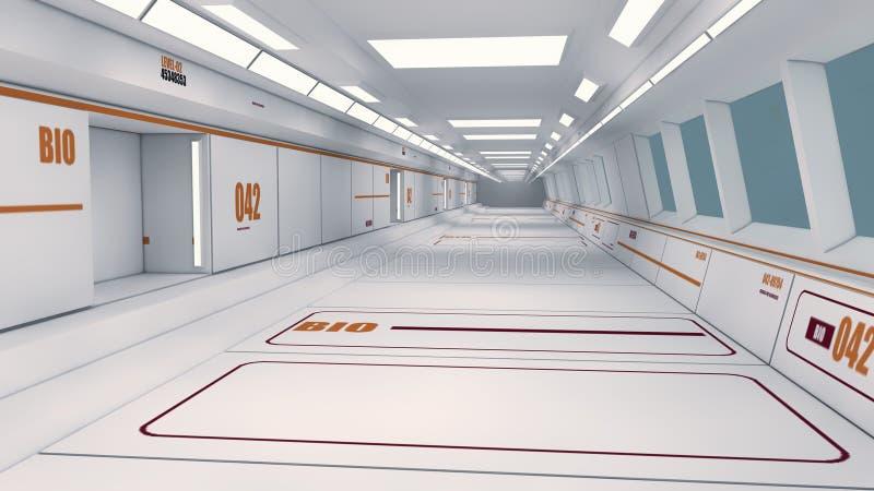 未来派太空飞船内部走廊 皇族释放例证