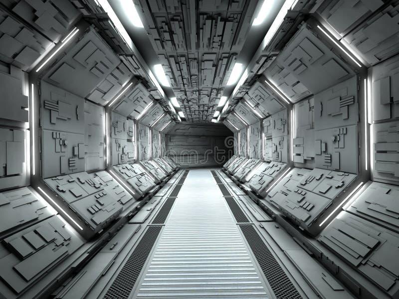 未来派太空飞船内部 库存例证