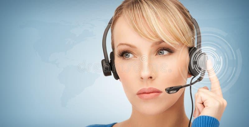 未来派女性热线服务电话操作员 库存图片