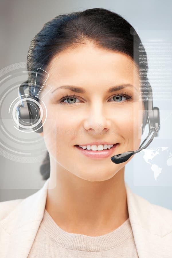 未来派女性热线服务电话操作员 库存照片