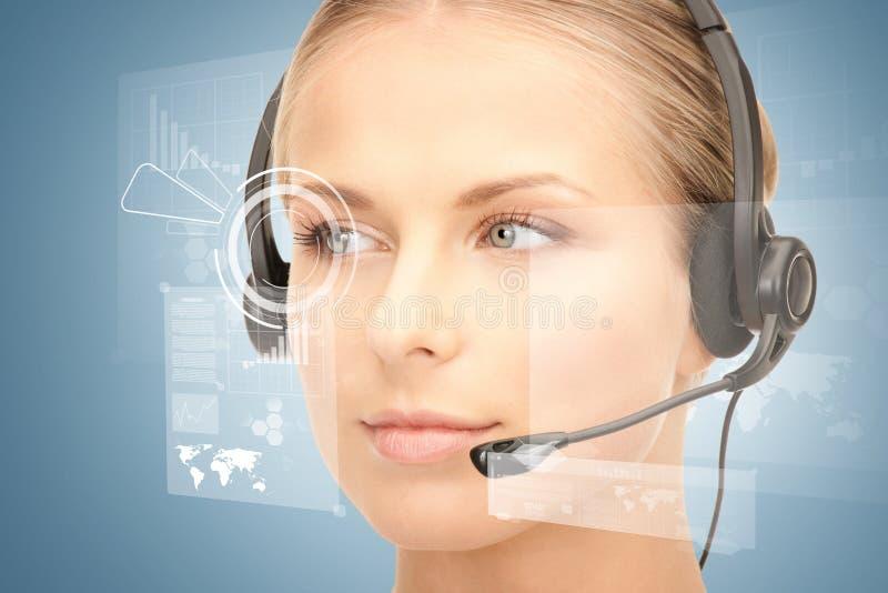 未来派女性热线服务电话操作员 免版税库存图片