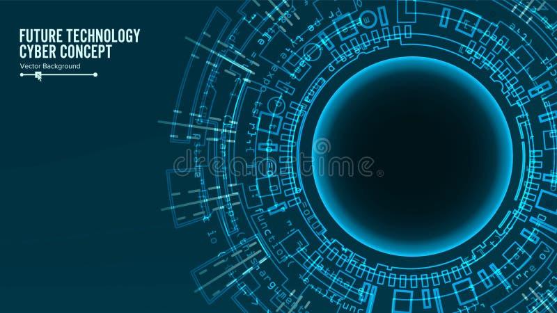 未来派技术连接结构 抽象背景向量 蓝色电子网络 电子数据连接 皇族释放例证