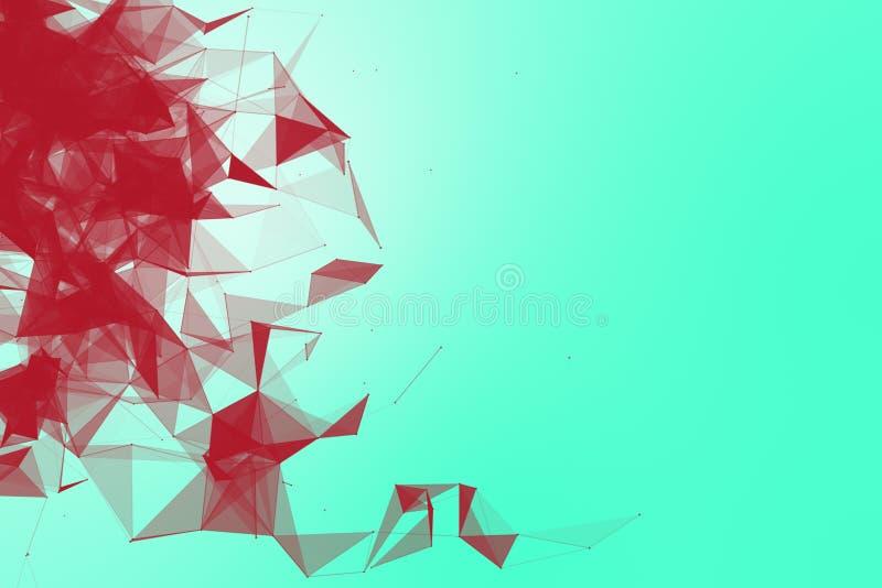 未来派技术绿松石背景 桃红色石榴结节三角未来派幻想 3d翻译 皇族释放例证