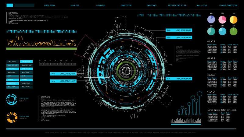 未来派接口hud设计,象扫描的infographic元素注标或波浪、警告箭头和酒吧管理者,指纹o 库存例证