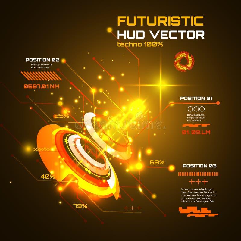 未来派接口infographics, HUD,技术传染媒介背景 库存例证