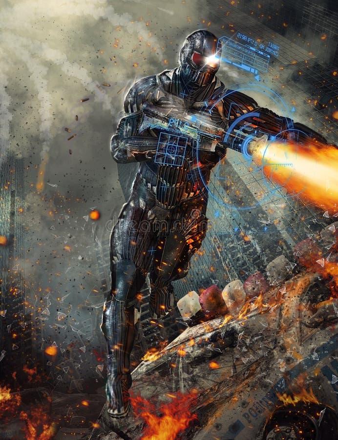 未来派机器人战士 皇族释放例证
