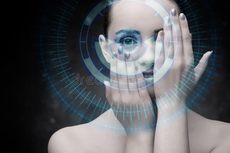 未来派概念的techno妇女 图库摄影