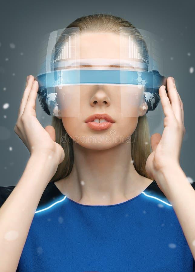 未来派玻璃的妇女 库存照片