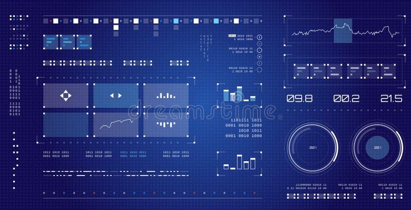 未来派用户界面 太空飞船被设置的屏幕组成元素 Infographic显示 暗色图表触摸屏 库存例证