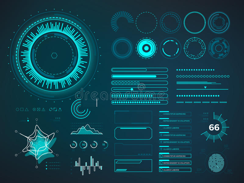 未来派用户界面HUD 要素infographic向量 向量例证