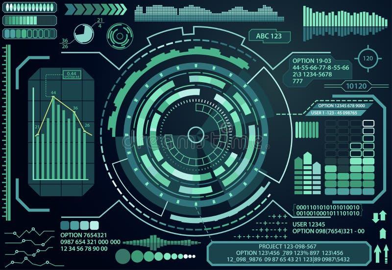 未来派真正图表接触用户界面元素 向量 库存例证