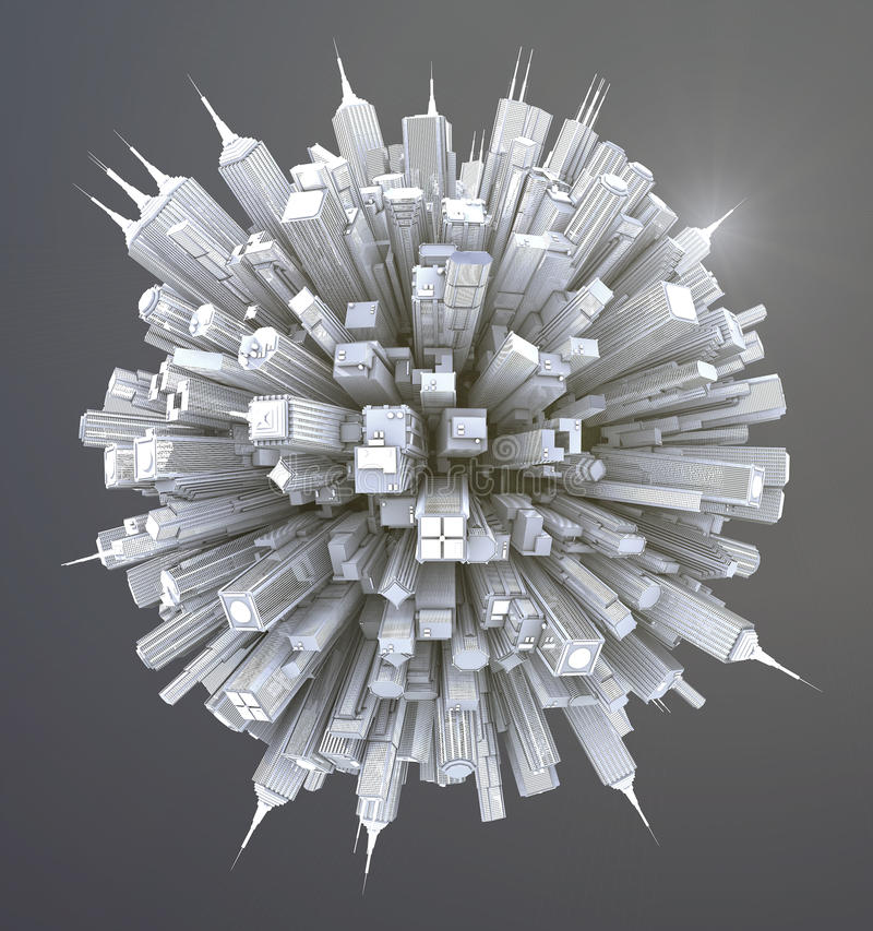 未来派科学幻想小说城市街道视图,数字式3d例证 向量例证