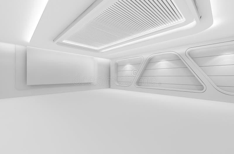 未来派空的室, 3d回报室内设计,白色嘲笑  向量例证