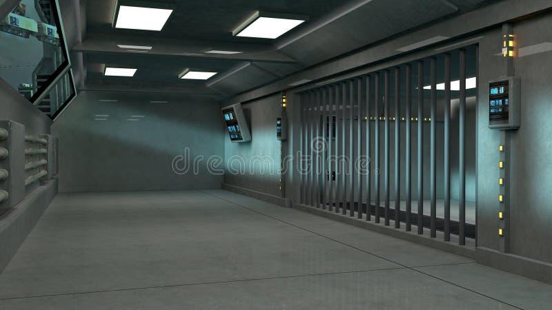 未来派建筑学intererior走廊 皇族释放例证