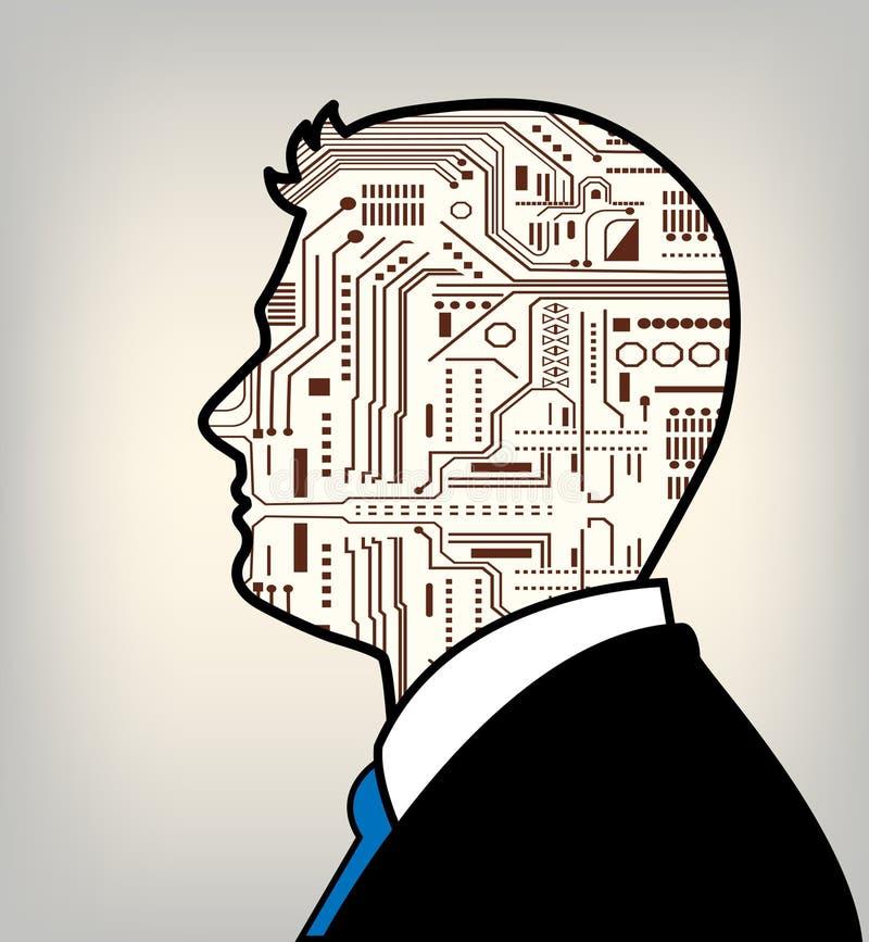 未来派联合的男性和机器人 皇族释放例证