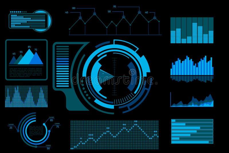 未来派蓝色传染媒介接触用户界面 向量例证