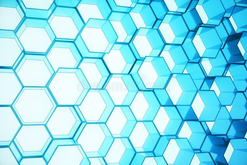 未来派表面六角形样式,与光线的六角蜂窝, 3D摘要蓝色翻译 向量例证