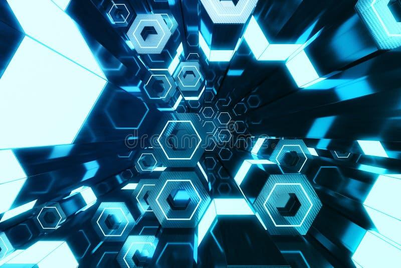 未来派表面六角形样式,与光线的六角蜂窝, 3D摘要蓝色翻译 皇族释放例证