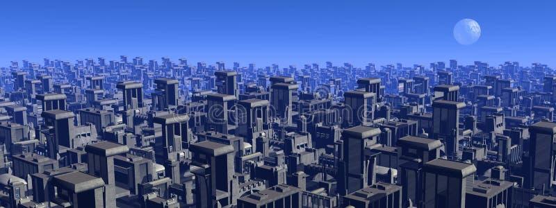 未来派都市风景- 3D回报 库存例证