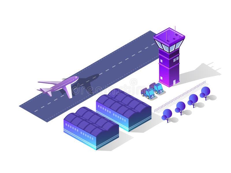 未来3d等量机场 皇族释放例证