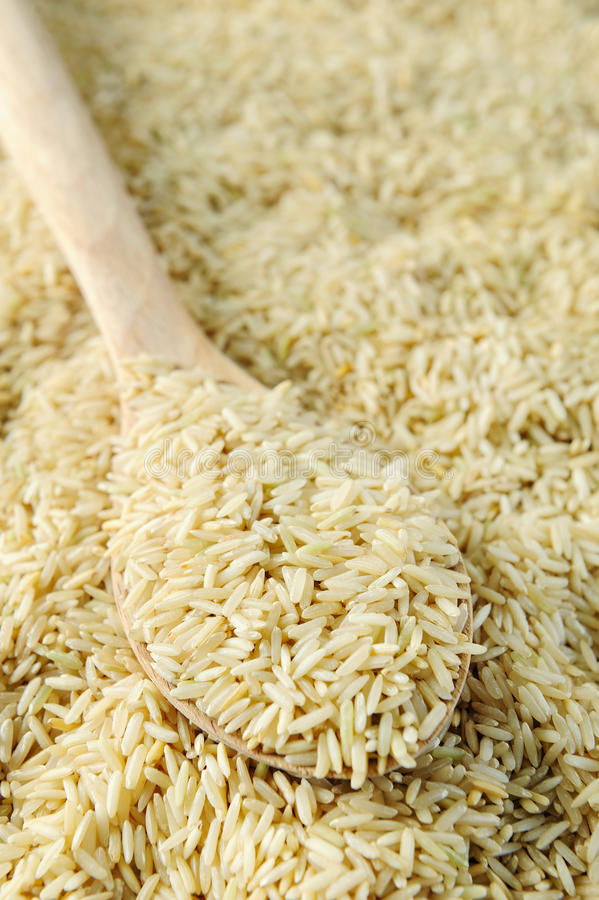 未煮过棕色谷物的米 库存图片