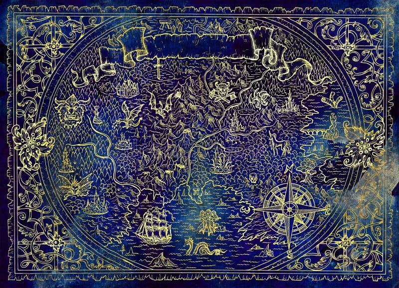 未知的世界,海盗船,在蓝色纹理的指南针地图集地图与幻想生物的 皇族释放例证