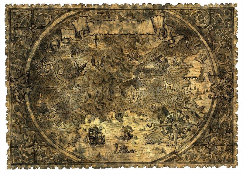 未知的土地老海盗地图有幻想生物的 库存例证