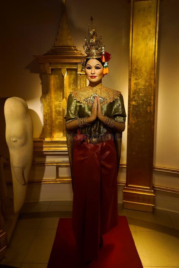 未知的妇女蜡象显示的在杜莎夫人蜡象馆泰国发现的蜡博物馆 库存照片