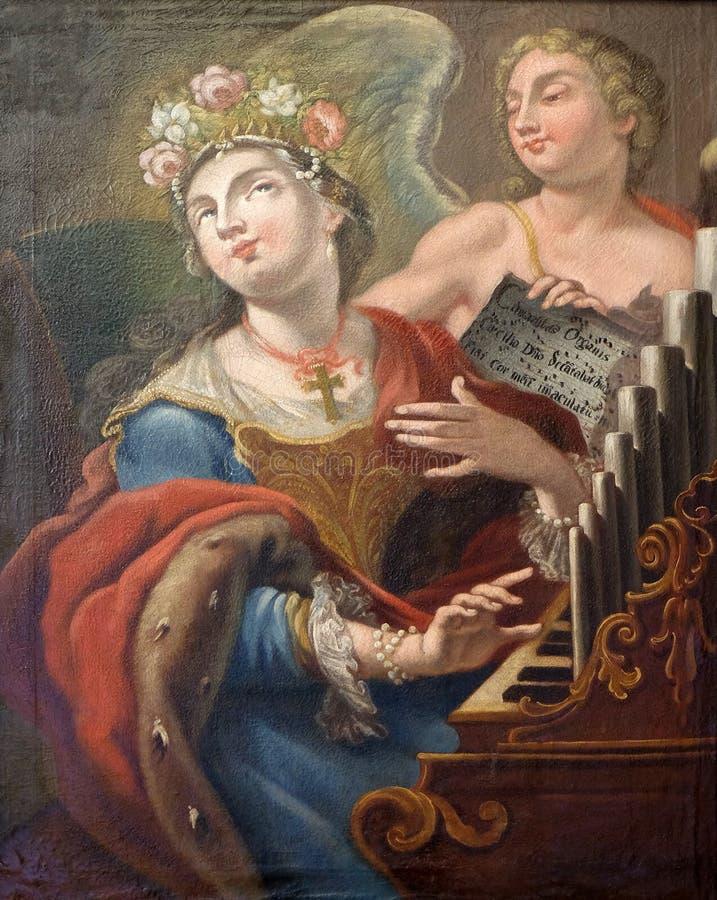 未知的波利娜画家:圣塞西莉亚 库存图片