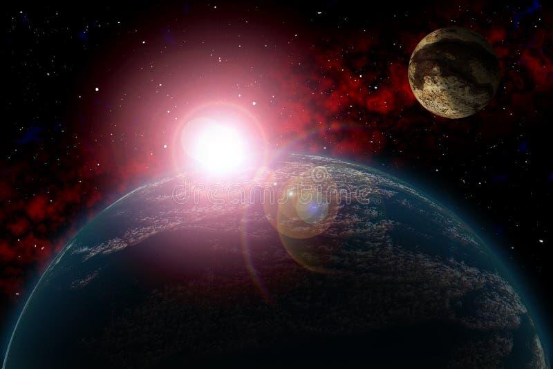 未知的行星 上色星,太阳,月亮,星,空间星云 依据:作者` s phototextures 向量例证