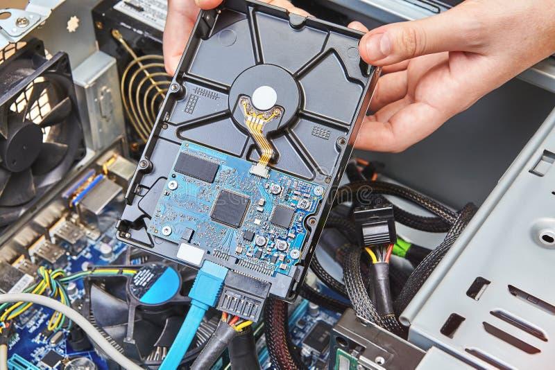 未装配的电脑系统系统单元硬盘驱动器的替换  免版税库存照片
